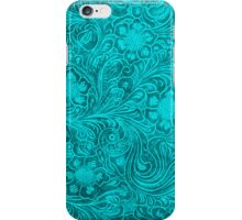 Turquoise Leather Look-Embossed Floral Design iPhone Case/Skin