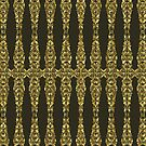 Brown And Gold Tones Ornate Heraldic Floral Pattern by artonwear