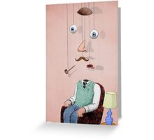 portrait of a man with pipe deconstructed Greeting Card