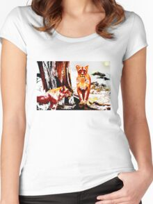 lions in a magical forest browns Women's Fitted Scoop T-Shirt