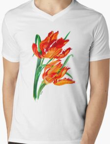Parrot Tulips Mens V-Neck T-Shirt