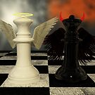 Chess Pieces - White Vs Black - Heaven Vs Hell by Liam Liberty