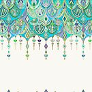 Art Deco Double Drop in Jade and Aquamarine on Cream by micklyn