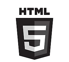 HTML 5 - Black (Badge) Photographic Print