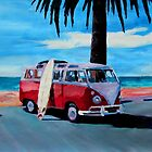 Surf Bus Series: The Red Volkswagen by artshop77