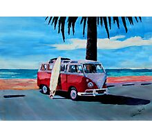 Surf Bus Series: The Red Volkswagen Photographic Print
