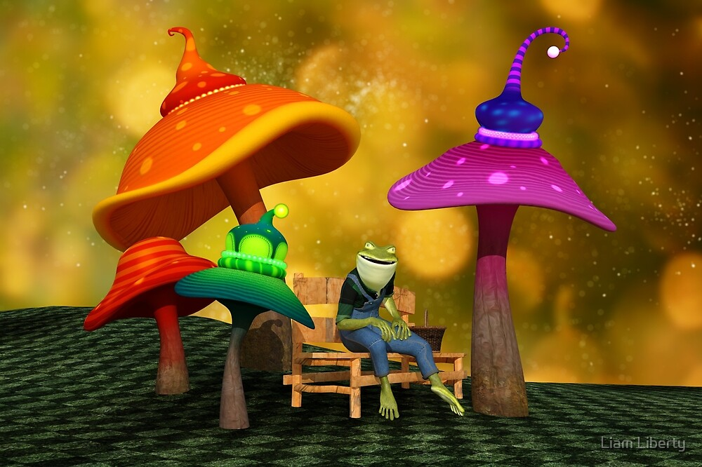 Whimsical Mushrooms and Ribbits The Frog by Liam Liberty