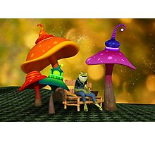 Whimsical Mushrooms and Ribbits The Frog Photographic Print