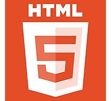 HTML 5 - White/Orange (Text) Photographic Print