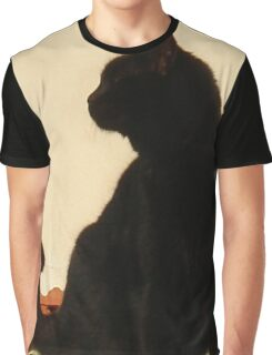 Side View Silhouette of A Black Cat Sitting On A Roof Graphic T-Shirt