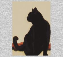Side View Silhouette of A Black Cat Sitting On A Roof Baby Tee