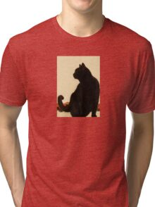 Side View Silhouette of A Black Cat Sitting On A Roof Tri-blend T-Shirt
