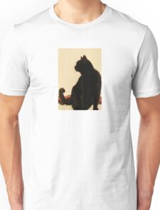 Side View Silhouette of A Black Cat Sitting On A Roof Unisex T-Shirt