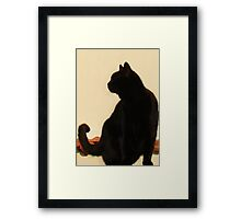 Side View Silhouette of A Black Cat Sitting On A Roof Framed Print
