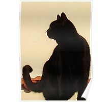 Side View Silhouette of A Black Cat Sitting On A Roof Poster