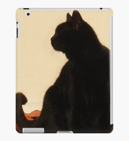 Side View Silhouette of A Black Cat Sitting On A Roof iPad Case/Skin