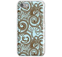 Brown And Blue Abstract Ornate Random Swirls iPhone Case/Skin