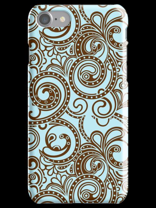 Brown And Blue Abstract Ornate Random Swirls by artonwear