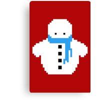 Cute Christmas Pixel Snowman Canvas Print