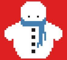 Cute Christmas Pixel Snowman One Piece - Short Sleeve