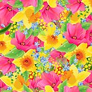 Colorful Abstract Flowers Illustration by artonwear
