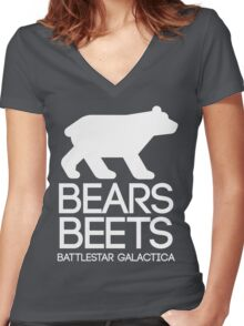 Bears. Beets. Battlestar Galactica. Women's Fitted V-Neck T-Shirt