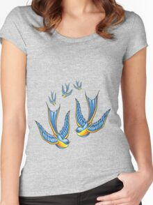 Tattoo Style Swallow  Women's Fitted Scoop T-Shirt