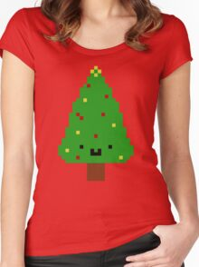 Cute Christmas Pixel Tree Women's Fitted Scoop T-Shirt