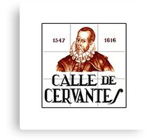 Calle de Cervantes, Madrid Street Sign, Spain Canvas Print