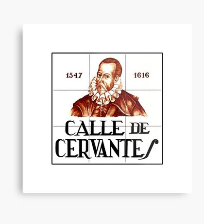 Calle de Cervantes, Madrid Street Sign, Spain Metal Print