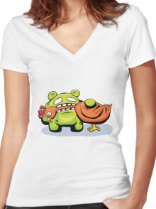 mmmmm chicken Women's Fitted V-Neck T-Shirt