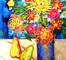 DAHLIAS  VASE by kimberlysdream