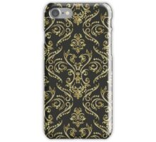 Black Gold And Diamonds Bling Vintage Floral Swirls Pattern iPhone Case/Skin