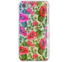 Retro Colorful Flowers Pattern-Pink And Green Colors iPhone Case/Skin