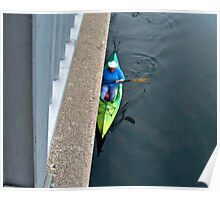 Kayak Along The Side of the Dam Poster