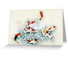 Koi carp (Nishikigo) (Chinese brush art) Greeting Card