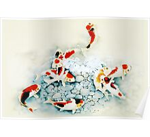 Koi carp (Nishikigo) (Chinese brush art) Poster
