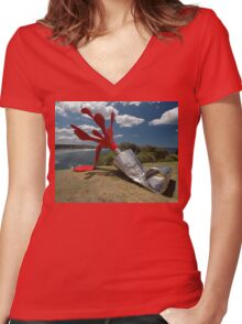 Red Paint Tube @ Sculptures By The Sea Women's Fitted V-Neck T-Shirt