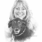 woman and dog drawing by Mike Theuer