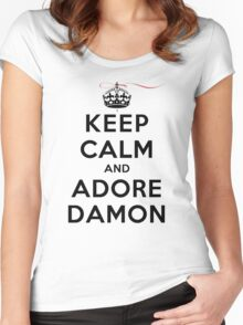 Keep Calm and Adore Damon From Vampire Diaries LS Women's Fitted Scoop T-Shirt