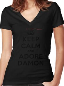 Keep Calm and Adore Damon From Vampire Diaries LS Women's Fitted V-Neck T-Shirt