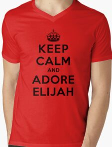 Keep Calm and Adore Elijah From Vampire Diaries LS Mens V-Neck T-Shirt