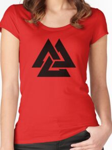 valknut tribal cool tattoo design Women's Fitted Scoop T-Shirt