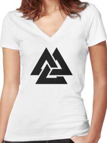 valknut tribal cool tattoo design Women's Fitted V-Neck T-Shirt
