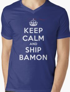 Keep Calm and SHIP Bamon (Vampire Diaries) DS Mens V-Neck T-Shirt