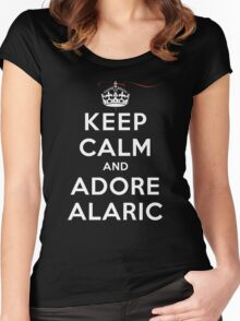 Keep Calm and Adore Alaric From Vampire Diaries DS Women's Fitted Scoop T-Shirt