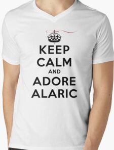 Keep Calm and Adore Alaric From Vampire Diaries LS Mens V-Neck T-Shirt