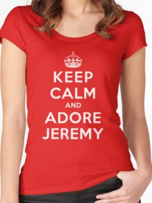 Keep Calm and Adore Jeremy From Vampire Diaries DS Women's Fitted Scoop T-Shirt