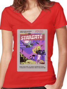 8bit Stargate Cartridge Women's Fitted V-Neck T-Shirt