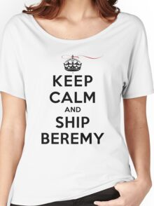 Keep Calm and SHIP Beremy (Vampire Diaries) LS Women's Relaxed Fit T-Shirt